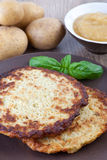 Potato Pancake with apple sauce Royalty Free Stock Photography