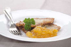 Potato pancake with apricot jam Royalty Free Stock Image
