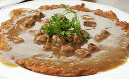 Potato pancake and goulash Royalty Free Stock Photo