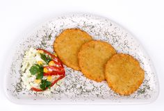 Potato Pancake / Griddle Cake on plate isolated Stock Photography