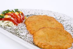 Potato Pancake / Griddle Cake on plate isolated. Potato Pancake, Griddle Cake on plate isolated Royalty Free Stock Photos