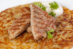 Potato pancake with meat Stock Image