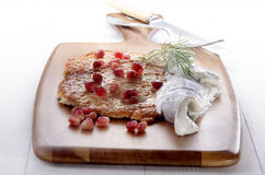 Potato pancake with pomegranate seed Royalty Free Stock Photos