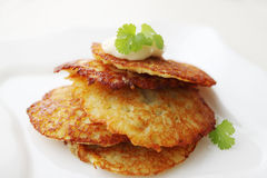 Potato pancake with sauce Royalty Free Stock Photography