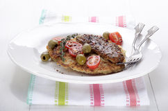 Potato pancake with smoked mackerel Royalty Free Stock Photos