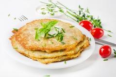 Potato Pancake with Sour Cream Royalty Free Stock Photography