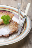 Potato pancake with sugar on a plate Royalty Free Stock Photos