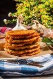 Potato pancake on a wooden table. Stock Photo