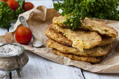 Potato Pancake on a wooden table Royalty Free Stock Photo