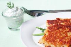 Potato pancakes. With cream cheese Royalty Free Stock Photo