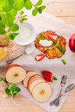 Potato pancakes with apfel and strawberry Stock Photo