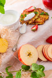 Potato pancakes with apfel and strawberry Royalty Free Stock Photography