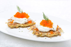 Potato pancakes with caviar on the plate Royalty Free Stock Photography