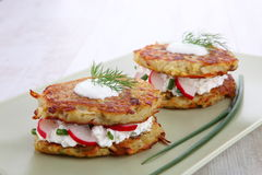 Potato Pancakes with cream cheese Royalty Free Stock Images