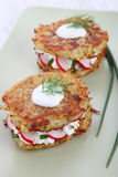 Potato Pancakes with cream cheese Stock Image