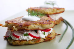 Potato Pancakes with cream cheese Stock Images
