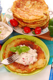 Potato pancakes with creamy cheese Stock Photo