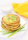 Potato pancakes with green onion Royalty Free Stock Image