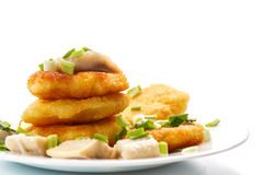 Potato pancakes with herring and onion Royalty Free Stock Image