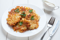 Potato pancakes or latke delicious homemade vegan Royalty Free Stock Photos
