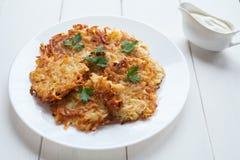 Potato pancakes or latke traditional vegetarian Stock Image