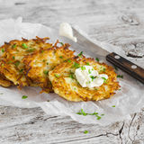 Potato pancakes or latkes Stock Photo