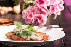 Potato pancakes. With mushroom sauce Royalty Free Stock Images