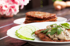Potato pancakes. With mushroom sauce Stock Images