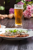 Potato pancakes. With mushroom sauce and beer Royalty Free Stock Photography