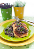 Potato pancakes with mushroom sauce Royalty Free Stock Photo
