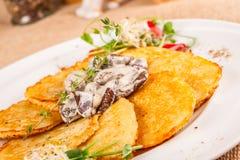 Potato pancakes with mushrooms Stock Photos