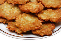 Potato pancakes on plate Stock Photo