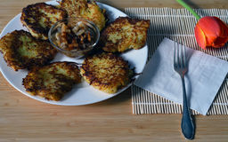 Potato pancakes on the plate with fried lard and fried onion Royalty Free Stock Images