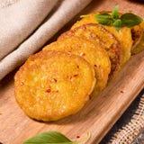 Potato pancakes with pumpkin puree Royalty Free Stock Images