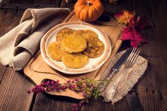 Potato pancakes with pumpkin puree Royalty Free Stock Photos