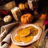 Potato pancakes with pumpkin puree Stock Image