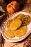 Potato pancakes with pumpkin puree Royalty Free Stock Photography