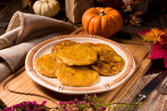 Potato pancakes with pumpkin puree Royalty Free Stock Photo