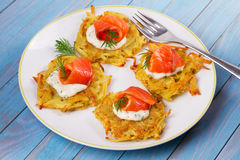 Potato Pancakes With Salmon. Vegetable fritters with fish. Latkes on a plate. Royalty Free Stock Photo
