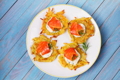 Potato Pancakes With Salmon. Vegetable fritters with fish. Latkes on a plate. Royalty Free Stock Images