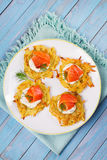 Potato Pancakes With Salmon. Vegetable fritters with fish. Latkes on a plate. Stock Images