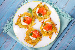 Potato Pancakes With Salmon. Vegetable fritters with fish. Latkes on a plate. Royalty Free Stock Image