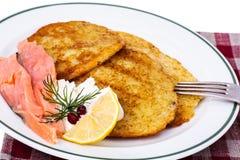 Potato pancakes with smoked salmon and cheese cream Royalty Free Stock Photo