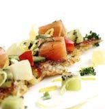 Potato pancakes with smoked salmon Royalty Free Stock Images