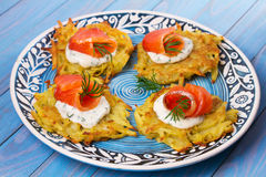 Potato Pancakes With Smoked Salmon. Vegetable fritters with fish. Latkes on a plate. Stock Photos