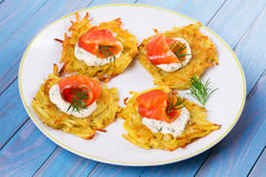Potato Pancakes With Smoked Salmon. Vegetable fritters with fish. Latkes on a plate. Stock Photo