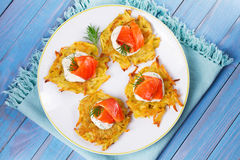 Potato Pancakes With Smoked Salmon. Vegetable fritters with fish. Latkes on a plate Stock Photography