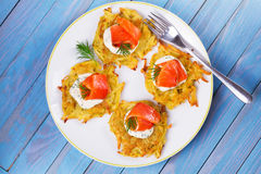 Potato Pancakes With Smoked Salmon. Vegetable fritters with fish. Latkes on a plate Royalty Free Stock Photography