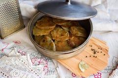 Potato pancakes with sour cream Royalty Free Stock Images