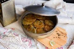 Potato pancakes with sour cream Stock Image